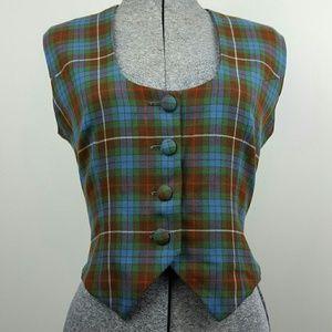 Vintage 70's Plaid Wool Tank Top Vest